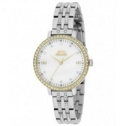 Reloj bicolor plata y dorado con incrustacion de cristales en la caja y correa para señora Slazenger SL.09.6078.3.03