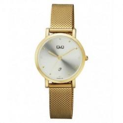 Reloj dorado y esfera blanca para mujer analógico con brazalete de malla Q&Q by Citizen A419J001Y