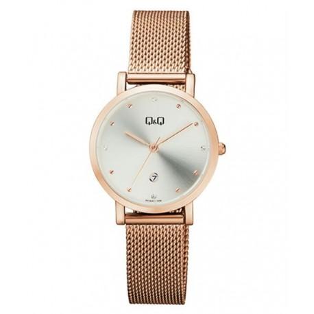 53f2c18db5 Reloj color oro rosa y esfera blanca para mujer analógico con brazalete de  malla Q&Q by Citizen A419J011Y