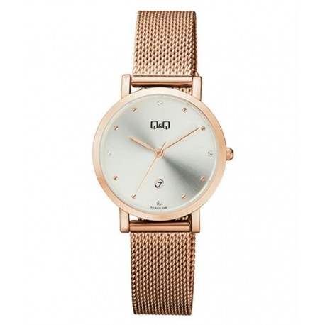 d9a5dc7e52b8 Reloj color oro rosa y esfera blanca para mujer analógico con brazalete de  malla Q Q by Citizen A419J011Y