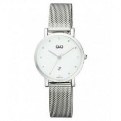 Reloj color plateado y esfera blanca para mujer analógico con brazalete de malla Q&Q by Citizen A419J201Y