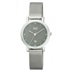 Reloj color plateado y esfera gris para mujer analógico con brazalete de malla Q&Q by Citizen A419J202Y