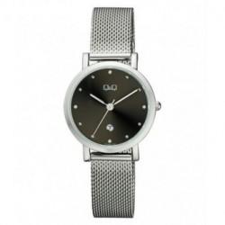 Reloj color plateado y esfera negra para mujer analógico con brazalete de malla Q&Q by Citizen A419J222Y