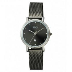 Reloj color negro ionizado y esfera negra para mujer analógico con brazalete de malla Q&Q by Citizen A419J402Y