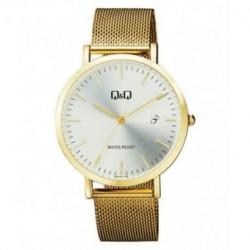 Reloj dorado y esfera blanca unisex analógico con brazalete de malla Q&Q by Citizen A466J001Y