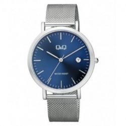 Reloj plateado y esfera azul unisex analógico con brazalete de malla Q&Q by Citizen A466J212Y