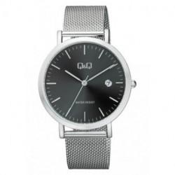 Reloj plateado y esfera negra unisex analógico con brazalete de malla Q&Q by Citizen A466J222Y