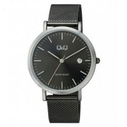 Reloj color negro ionizado unisex analógico con brazalete de malla Q&Q by Citizen A466J402Y