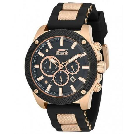 5a3554d1206a Reloj Slazenger para hombre color negro y oro rosa multifuncion con correa  de caucho SL.09.6026.2.01
