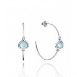 Pendientes Aro Abiertos Plata Cristal Corazón Azul Circonitas Presión 30 mm TREND VICEROY