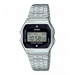 Reloj retro vintage con diamante para mujer plateado CASIO A-158WEAD-1E
