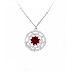 Collar Plata Mamá Estrella Roja Esmalte
