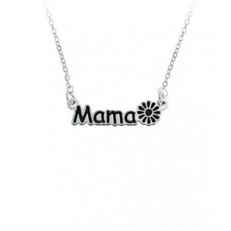 Gargantilla Plata -Mama- Flor Esmalte Negro