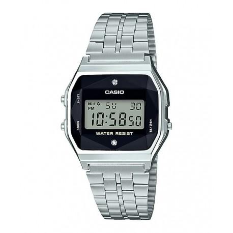 79d157377765 Reloj retro vintage con diamante para mujer plateado CASIO A-159WAD-1D