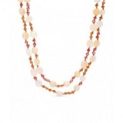 Collar Largo RETADEL de Plata Rosa de Dos Vueltas con Piedras del Sol de 85cm de LUXENTER