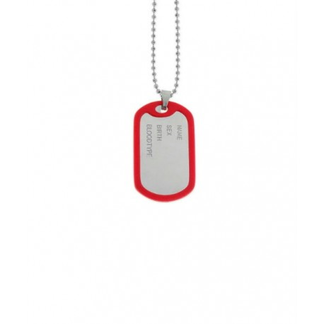 Collar Hombre Acero Colgante Placa Militar Rojo LISKA