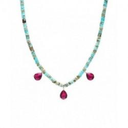 Collar Plata GRIMDINO Turquesa Cristal Rosa LUXENTER