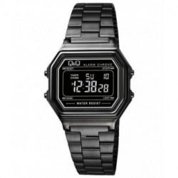 Vintage Reloj retro unisex todo negro metalizado con digitos negros de Q&Q fabricado por Citizen M173J005Y