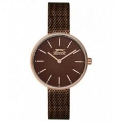 Reloj con cadena malla color chocolate y oro rosa para mujer SLAZENGER SL.09.6168.3.05