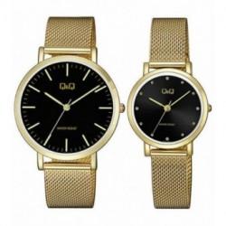 Pareja reloj de moda con cadena malla color dorado QA2021J002Y