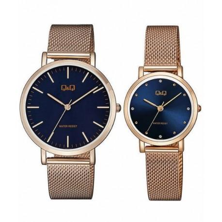 Pareja reloj de moda con cadena malla color oro rosa QA2021J032Y