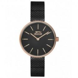 Reloj con cadena malla color negro y oro rosa para mujer SLAZENGER SL.09.6168.3.02