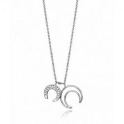 Collar Plata Doble Colgante Lunas Circonitas 43cm VICEROY