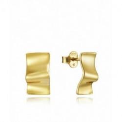 Pendientes Plata Baño Oro Rectangulares Ondas Brillo 6x12mm Presión VICEROY