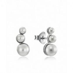 Pendientes Plata Trepadores Perlas 14mm Presión VICEROY