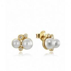 Pendientes Plata Baño Oro Perlas Circonitas 12x9mm Presión VICEROY