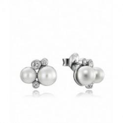 Pendientes Plata Perlas Circonitas 12x9mm Presión VICEROY