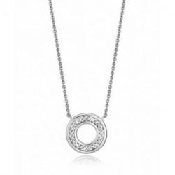 Collar Plata Círculo 15mm Circonitas 40+3cm VICEROY