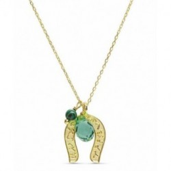 Collar Plata Baño Oro KANAK Colgante Herradura Malaquita 40+3cm LUXENTER