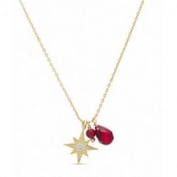 Collar Plata Baño Oro BAMED Colgante Estrella Polar Coral 40+3cm LUXENTER