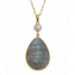 Collar plata chapada Salvatore con piedra natural