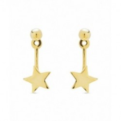 Pendientes Plata Baño Oro Earjacket BARD Estrella Presión LUXENTER