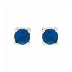 Pendientes Piercing Plata BRANDSA Solitario Circonita Azul 4mm Rosca LUXENTER