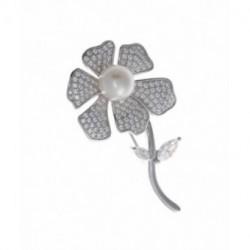 Broche Plata Flor Circonitas Perla SALVATORE