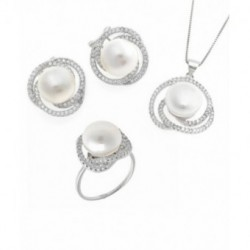 Conjunto Plata Collar Pendientes Anillo Perla Circonitas SALVATORE