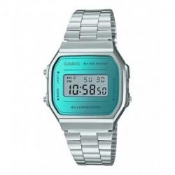 Reloj Retro Unisex CASIO efecto espejo azul A-168WEM-2E