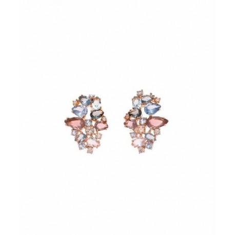 Pendientes Plata Baño Rosa Cristales Multicolor SALVATORE