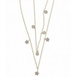 Collar Doble Plata Baño Oro Estrellas Circonitas SALVATORE