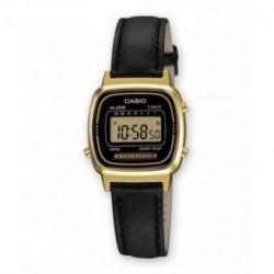 Reloj retro vintage mujer con correa de piel CASIO LA-670WGL-1E