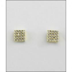 Pendientes dorados plata cuadrados Larré